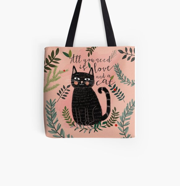 All you need is love and a cat Art Print Cat wall Art || Cat lover gift || pet wall hanging  || Mia Charro Poster  All Over Print Tote Bag