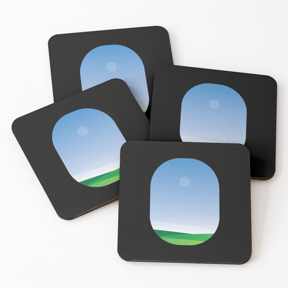 A green landscape as seen from the airplane window Coasters (Set of 4)