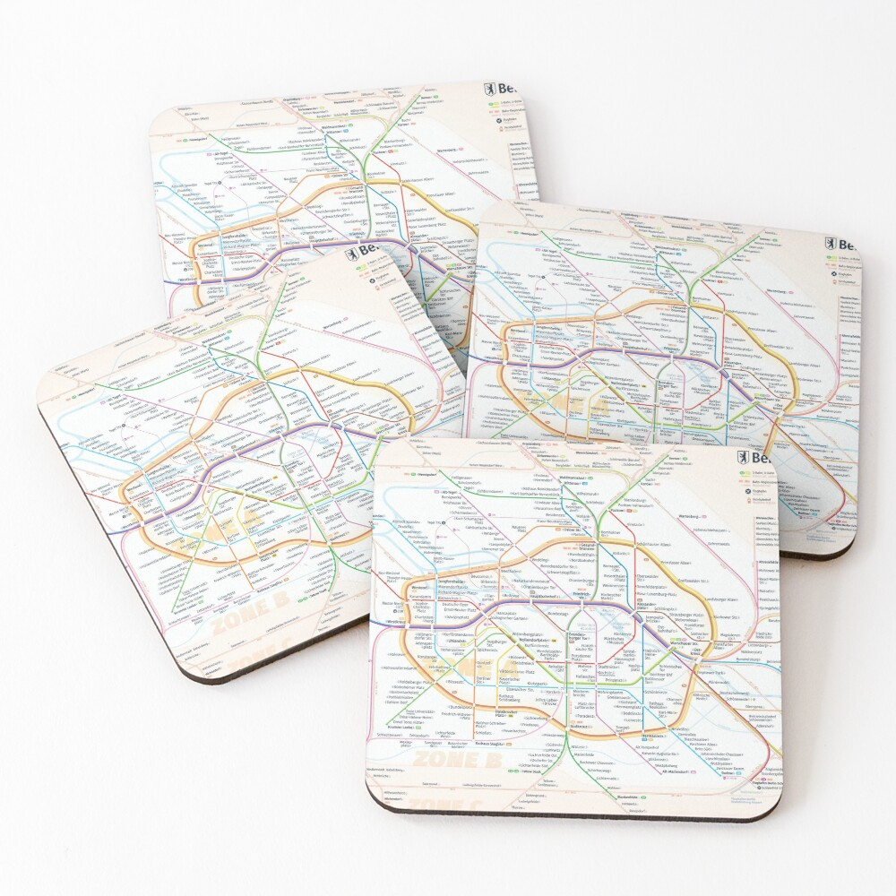 New Berlin rapid transit route map (December 15, 2019) Coasters (Set of 4)