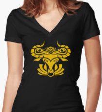 Zodiac Sign Taurus Gold Women's Fitted V-Neck T-Shirt