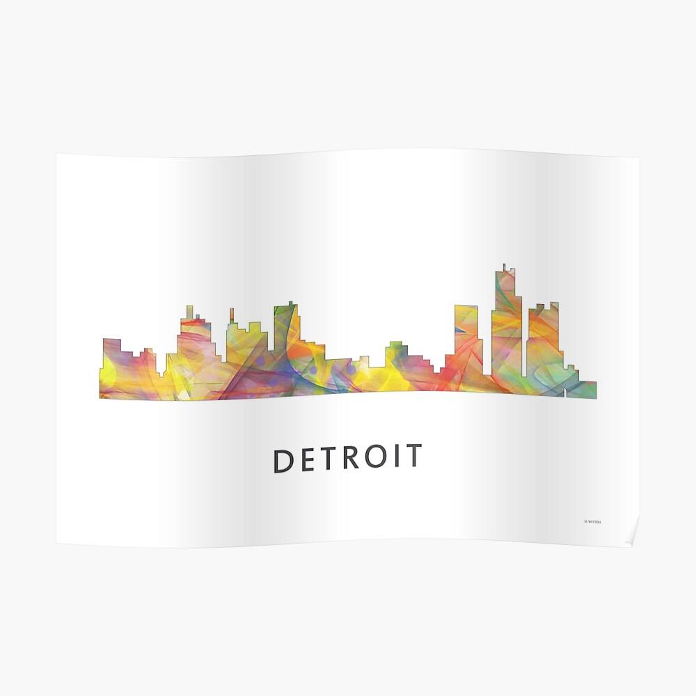 Detroit Michigan Skyline WB1 Poster