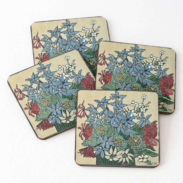 """Blue Orchids"" by Margaret Preston Coasters (Set of 4)"