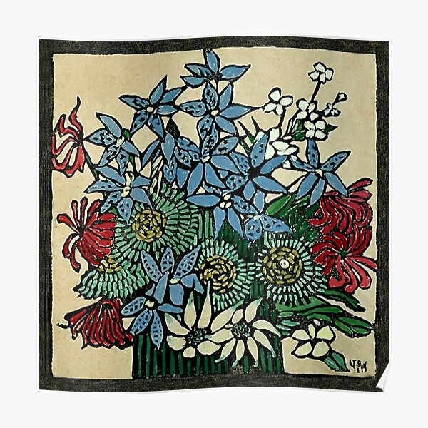 """Blue Orchids"" by Margaret Preston Poster"