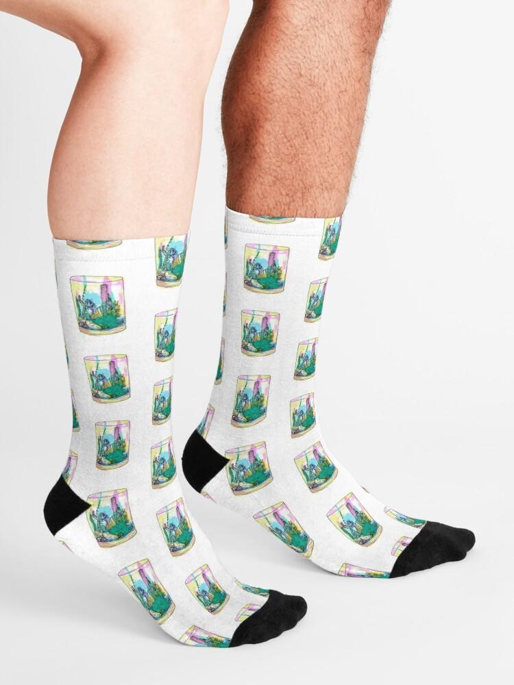 Women Men Watercolor Succulents2 Pattern Cushion Ankle Socks