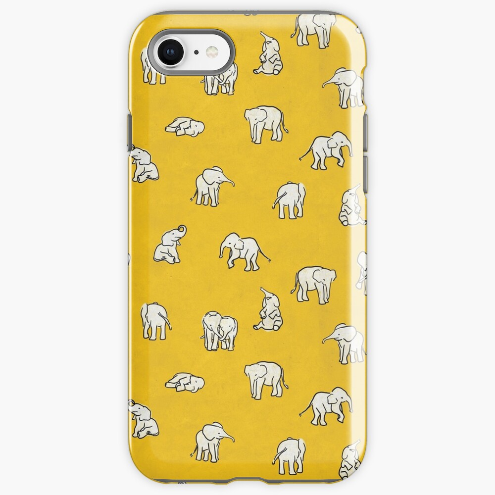 Indian Baby Elephants Yellow Pattern iPhone Case & Cover