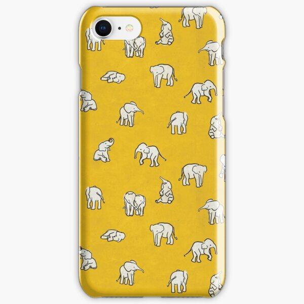Indian Baby Elephants Yellow Pattern iPhone Snap Case