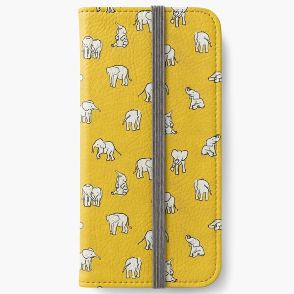 Indian Baby Elephants Yellow Pattern iPhone Wallet