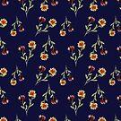 Navy mustard floral print  by cardwellandink