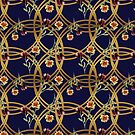 Navy gold  floral print  by cardwellandink