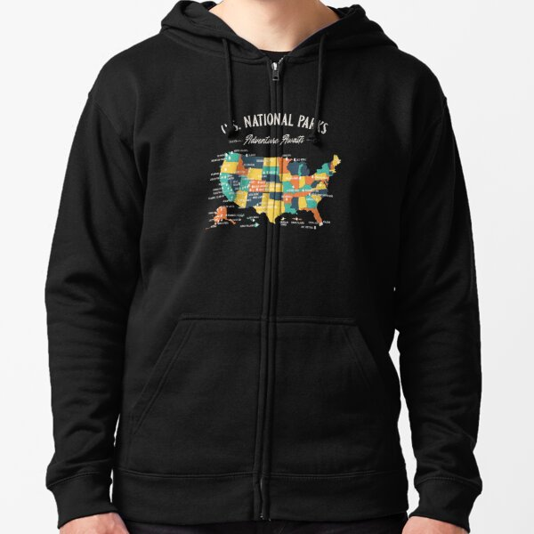 U.S National Parks Map - Adventure Awaits Zipped Hoodie