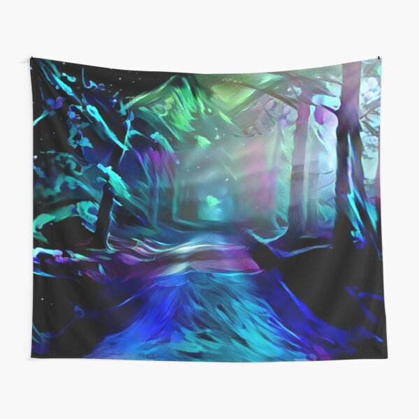 Blacklight Night Forest Path Tapestry