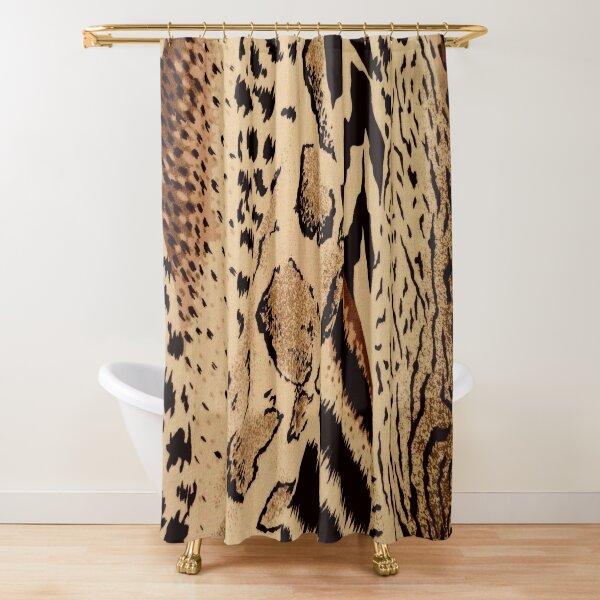 brown black tan cheetah leopard safari animal print Shower Curtain