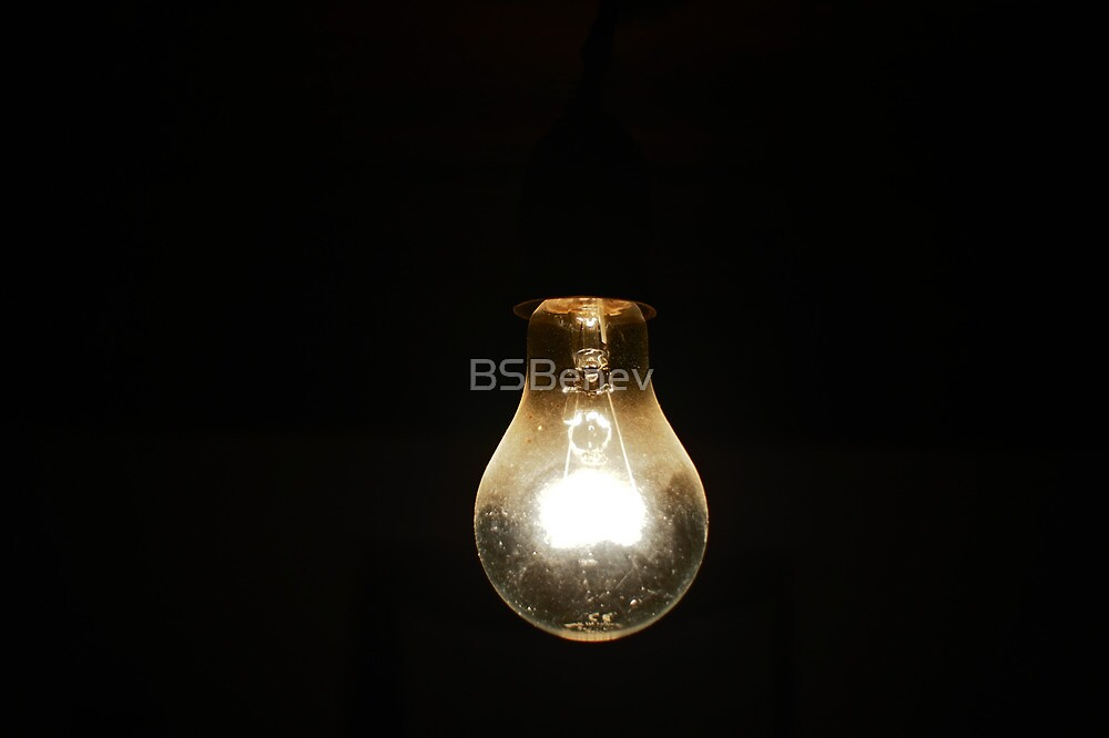 a light [bulb] in the dark [room] by BSBenev