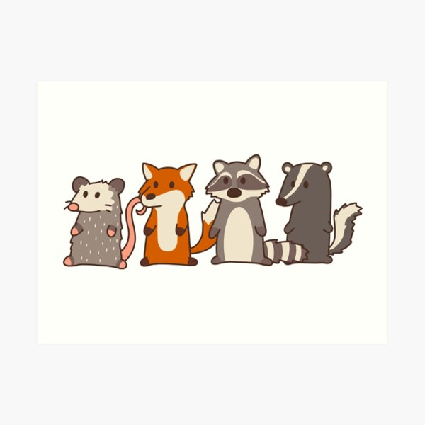 opossum, fox, raccoon and skunk woodland friends Art Print