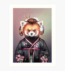 Lámina artística Kimono de panda rojo