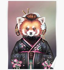 Kimono panda rouge Poster