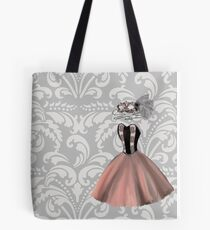 Pink Party Dress and Masquerade Mask Tote Bag