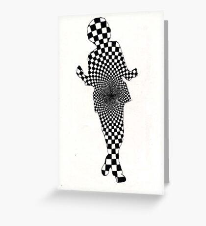 64 - GEOMETRIC DANCER - DAVE EDWARDS - INK - 1983 Greeting Card