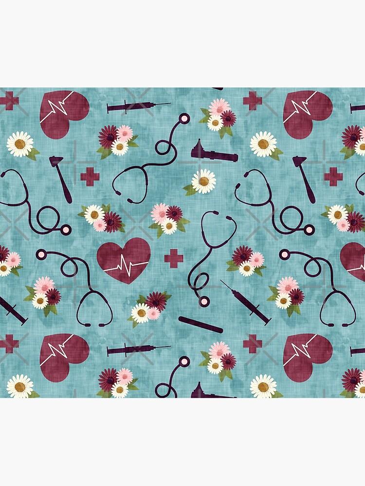 Floral Nursing - blue - Stethoscopes, heart beat, Otoscope by littlearrow