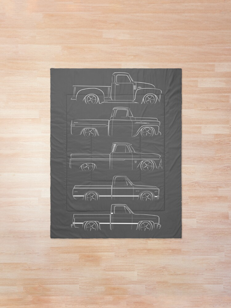 Alternate view of Evolution of the Chevy Pickup - profile stencil, white Comforter