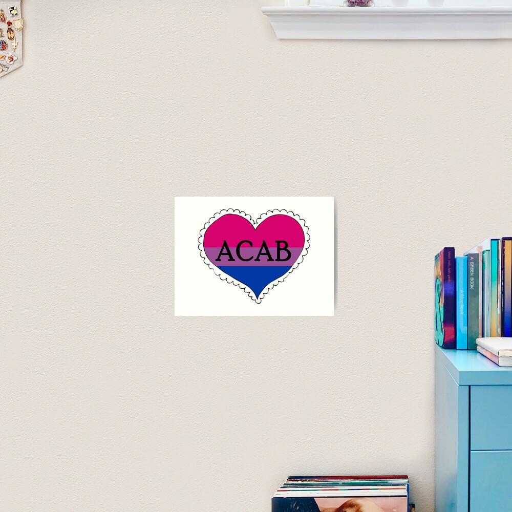 acab bisexual pride flag heart Art Print