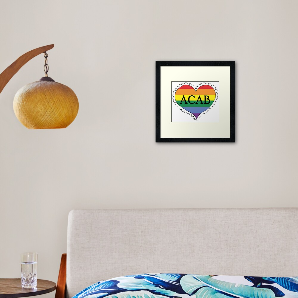 acab gay pride flag heart Framed Art Print