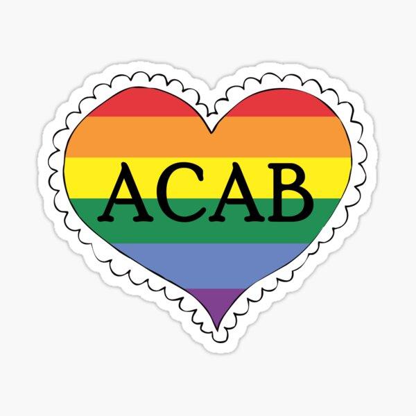 acab gay pride flag heart Sticker