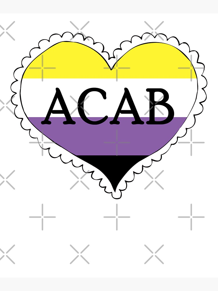 acab nonbinary pride flag heart by craftordiy