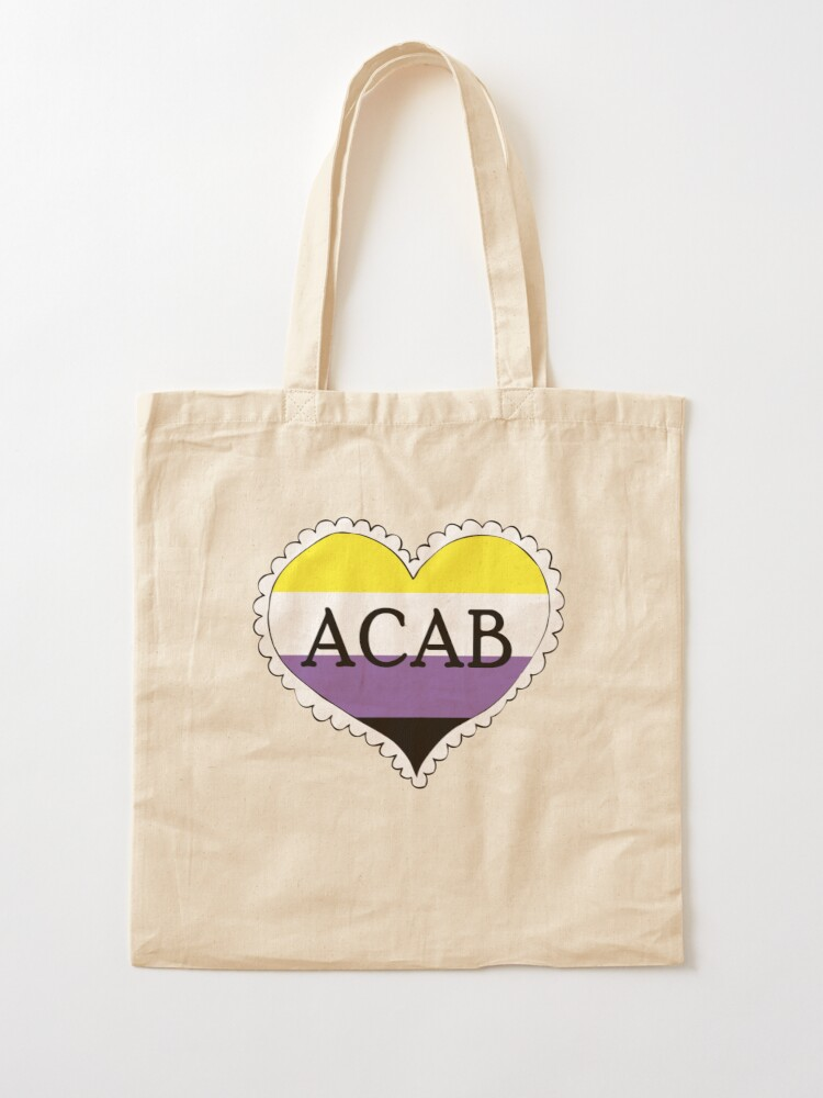 Alternate view of acab nonbinary pride flag heart Tote Bag
