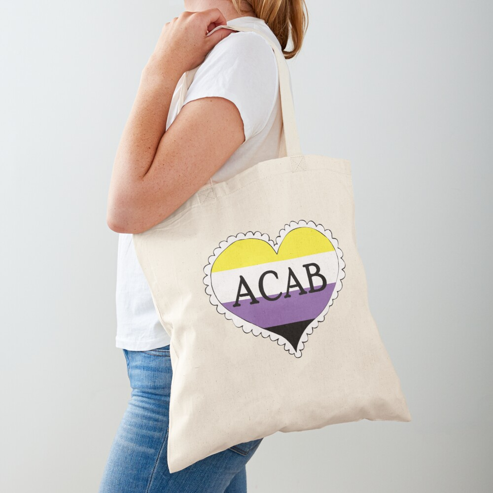 acab nonbinary pride flag heart Tote Bag