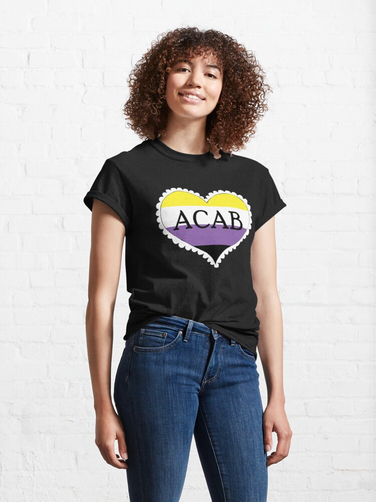 Alternate view of acab nonbinary pride flag heart Classic T-Shirt