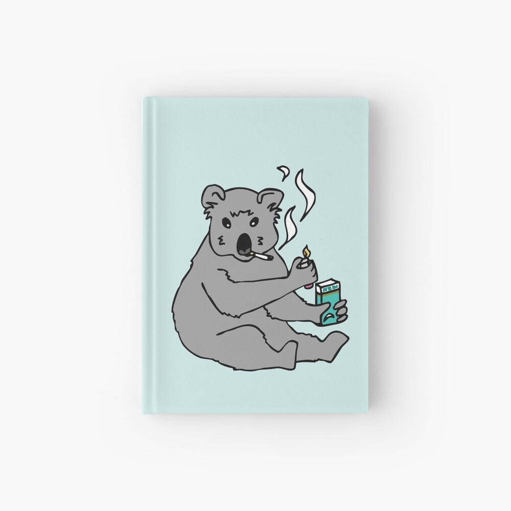 koala smoking a cigarette Hardcover Journal