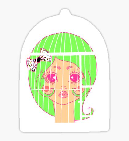 Girl in Cage 2 Sticker