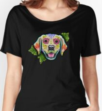Day of the Dead Golden Retriever Sugar Skull Dog Women's Relaxed Fit T-Shirt