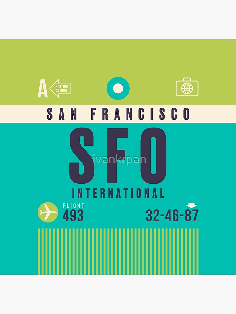 Retro Airline Luggage Tag A - SFO San Francisco Airport USA by ivankrpan