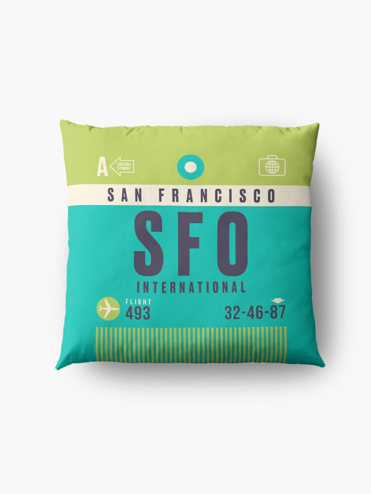 Alternate view of Retro Airline Luggage Tag A - SFO San Francisco Airport USA Floor Pillow