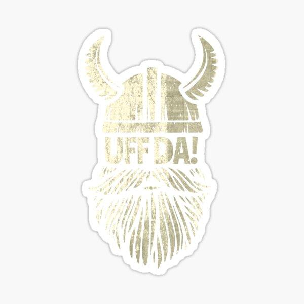 Uff Da Viking Helmet Funny Beard Scandinavian Mythology Popular Norwegian Phrase  Sticker