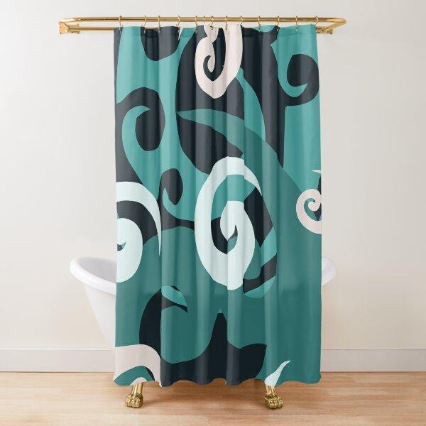 Koru design, Black Shower Curtain