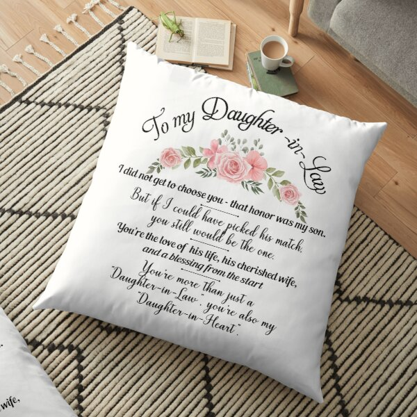 Best Flowers Daughter In Law Pillow From Mother In Law Floral Birthday Design Floor Pillow
