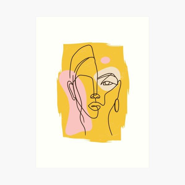 abstrakter Frauenkopf, Gesicht Kunstdruck