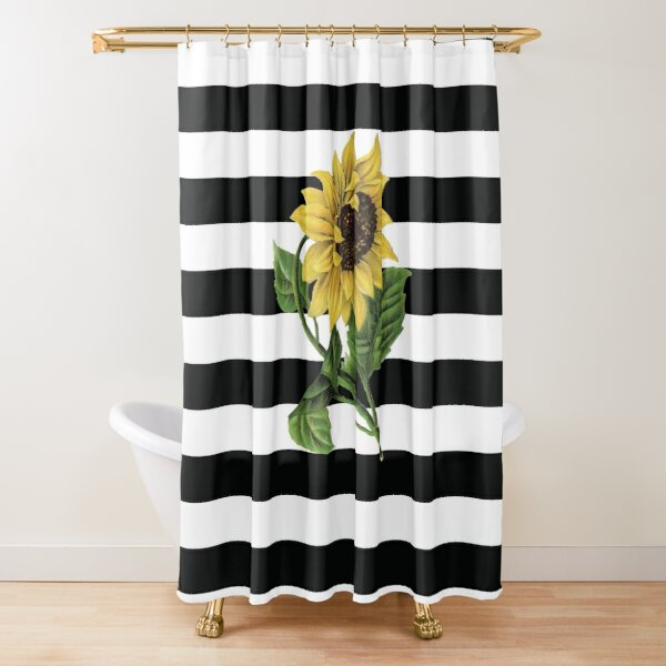 Sunflower on Black and White Stripes Shower Curtain