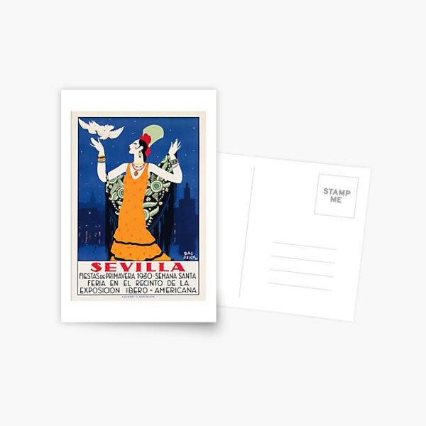 Spain 1930 Seville April Fair Travel Poster Postcard