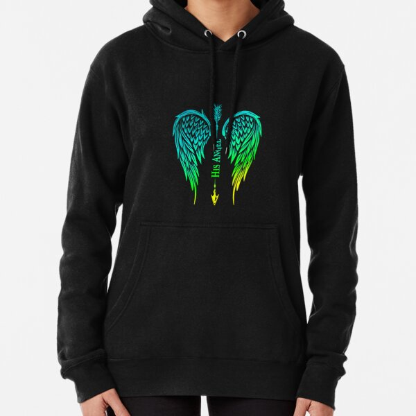 His Angel Girlfriend Wife Matching Outfit With Wings Pullover Hoodie Pullover Hoodie