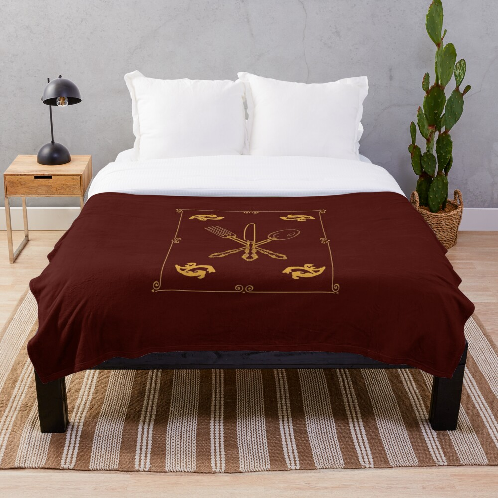 Just Add Magic Utensils Gold with Border Throw Blanket