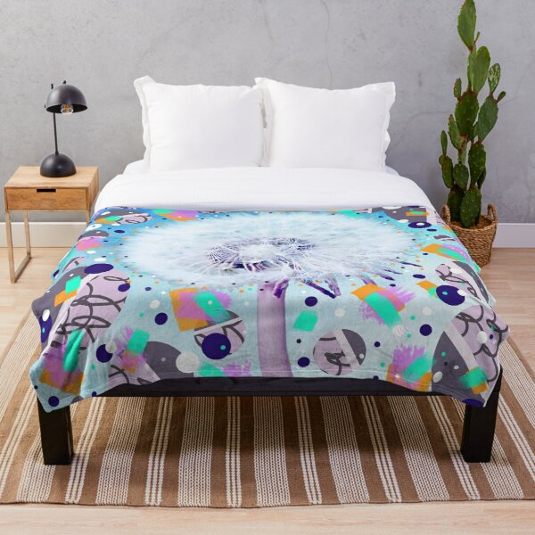 Blue and purple dandelion wish with geometric circles Throw Blanket