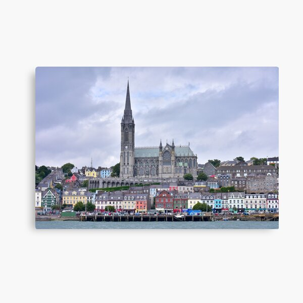 St Colman's Cathedral from a boat in Cork Harbour Canvas Print