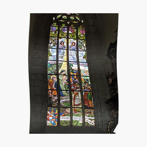 St Barbara's cathedral, Kutna Hora, stained glass window Poster
