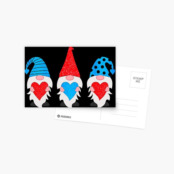 Three Gnomes Holding hearts Valentines Postcard