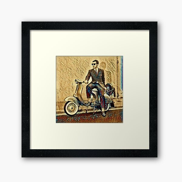 Vespa Scooter Mod with Sunglasses Framed Art Print