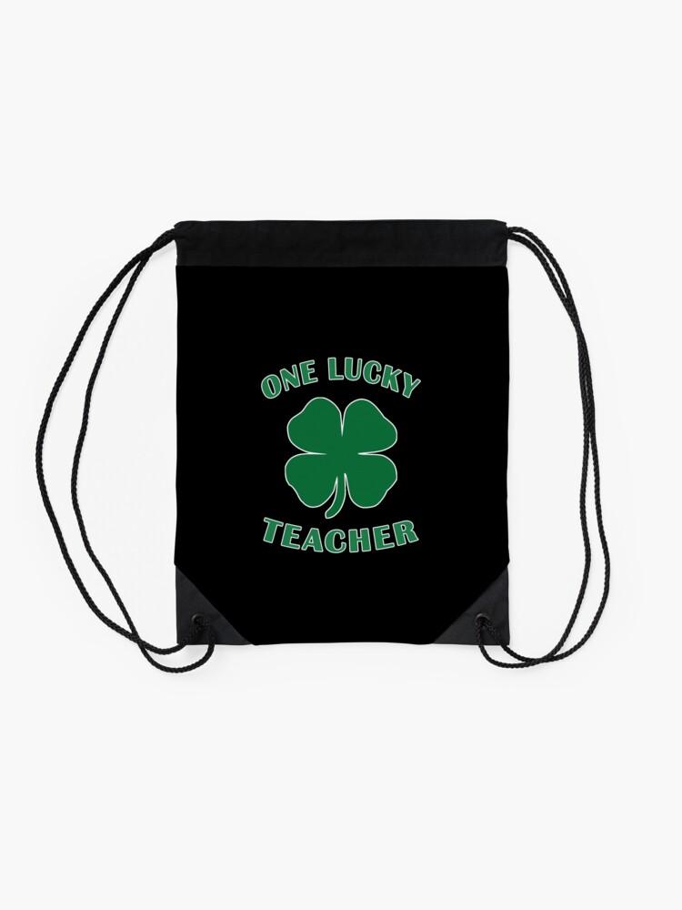 Alternate view of Lucky Teacher St Patrick Day Irish Shamrock gift. Drawstring Bag